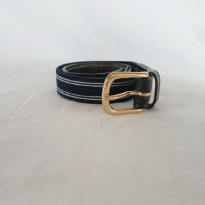 Elastic & Leather Belt with Gold Buckle