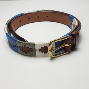 Blue grey and white polo belt