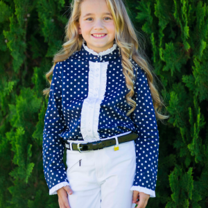 Girls navy long sleeve polka dot frill shirt