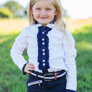 Girls white long sleeve frill shirt