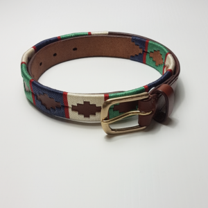 navy, jade green, red and cream polo belt