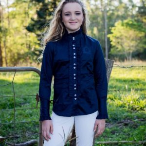 Ladies Long Sleeve Frill Navy