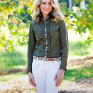 Ladies Khaki Frill Shirt