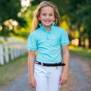 Girls Aqua Blue Polo Shirt