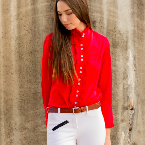 Ladies Red Frill Shirt