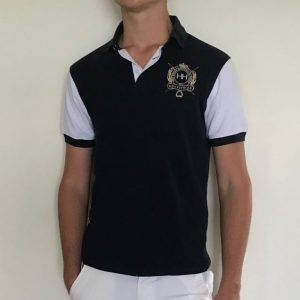 Navy and white mens polo