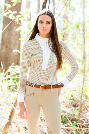 26a52420134 The Ladies Long Sleeve Spot Riding Shirt is a striking shirt on it s own  but also looks amazing under a hack or jumping jacket. Featuring a front  zip
